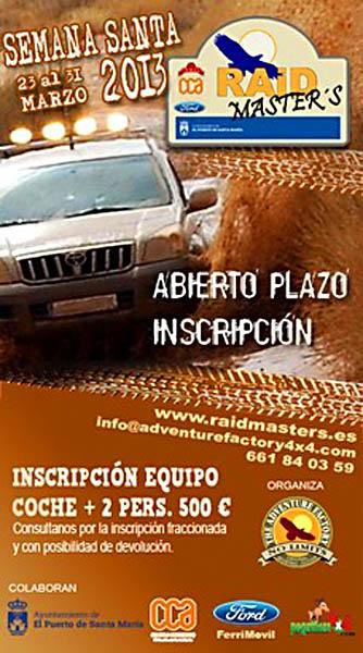 Abierto el plazo de inscripción para la III Edición del Raid Master's 2013